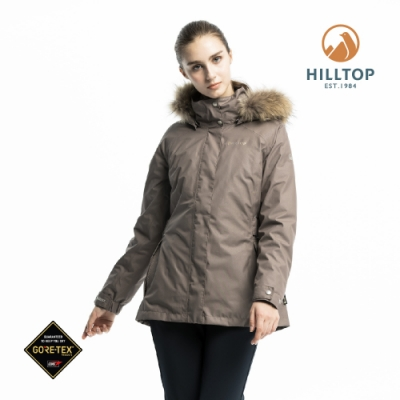 【hilltop山頂鳥】女款GORE-TEX二合一防水羽絨短大衣PF22XFZ6ECCC淺咖啡