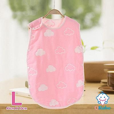 QBabe 全棉六層紗 寶寶兒童四季防踢被-粉色雲朵-L