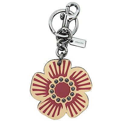 COACH 專櫃款皮革花朵鑰匙圈(駝)