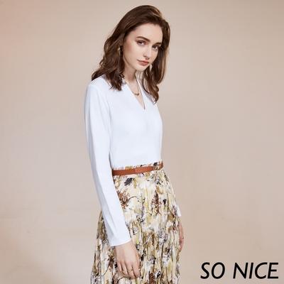 SO NICE簡約質感V領莫代爾棉上衣