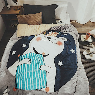 絲薇諾 咕耐熊 法蘭羊羔絨暖暖被-150×200cm