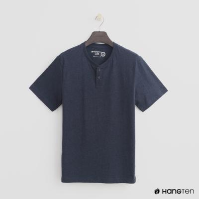 Hang Ten - 有機棉-排扣領純色T恤 - 藍