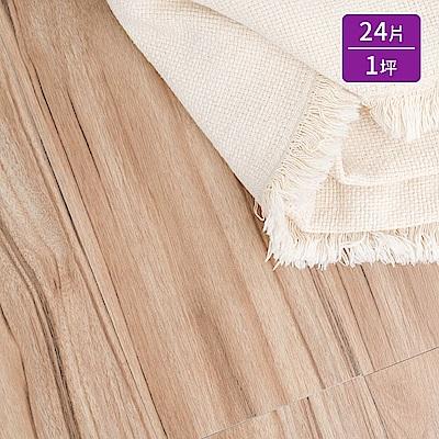 樂嫚妮 超耐磨塑膠PVC仿木紋DIY地板貼/奈米銀負離子/24片一坪-奧胡斯木紋-台灣