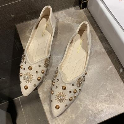韓國KW美鞋館 夏日氛圍氣質淑女尖頭平底懶人鞋-杏