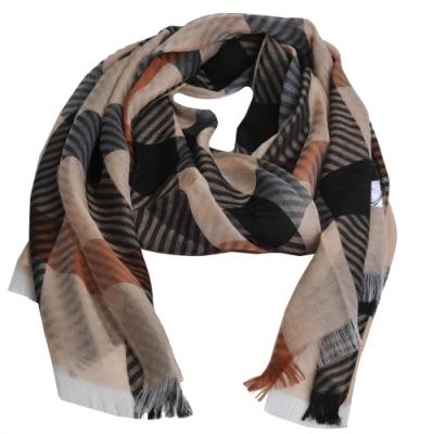 DAKS 經典品牌格紋圖騰LOGO絲質圍巾(駝色系)