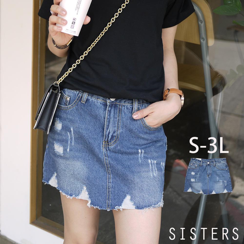 破破抓鬚牛仔褲裙(S-3L) SISTERS