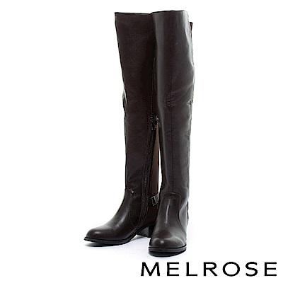 長靴 MELROSE 極簡主義異材質拼接粗低跟過膝長靴-咖