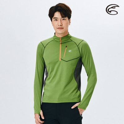 ADISI 男半門襟抗靜電紗(胸前口袋)長袖上衣AL2021063 森林綠
