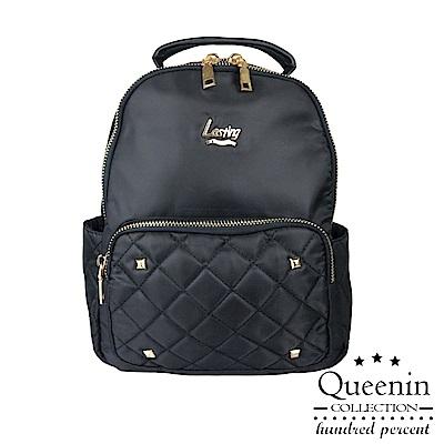 DF Queenin流行 - 時尚指標經典菱格防潑水後背包-共2色