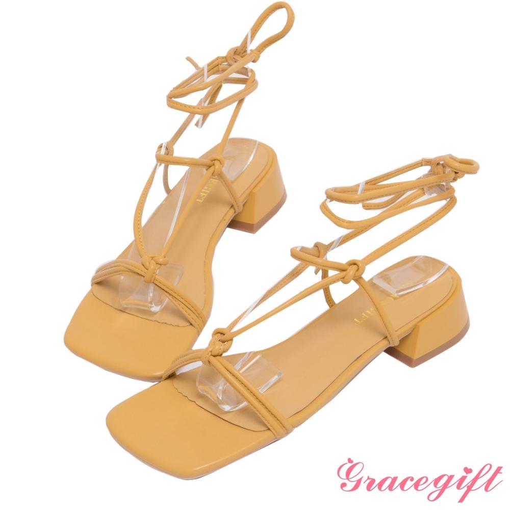 Grace gift-層次綁帶羅馬低跟涼鞋 黃