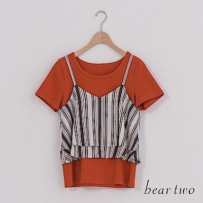 beartwo 兩件式細肩花紋層次T恤上衣(二色)