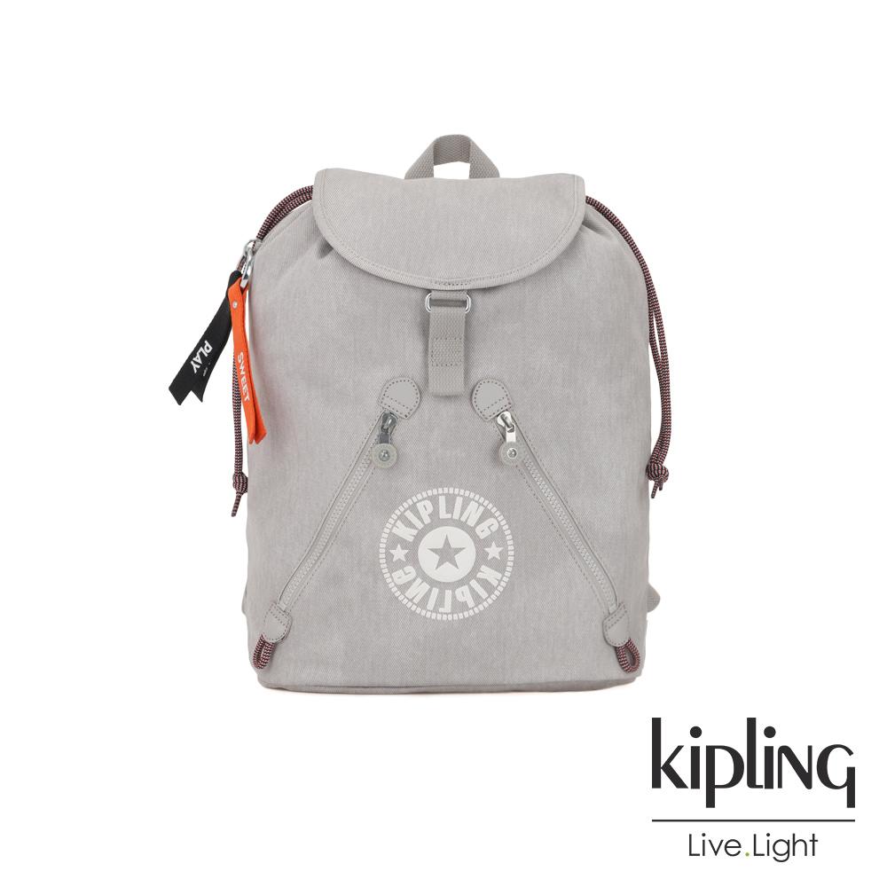 Kipling Blank Canvas系列棉質丹寧抽繩束口後背包-FUNDAMENTAL