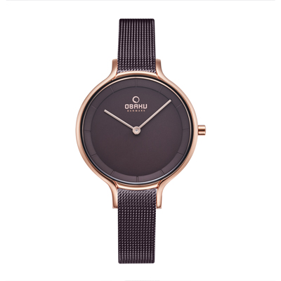 OBAKU 現代工業設計極簡曲線腕錶-棕(V228LXVNMN)/32mm