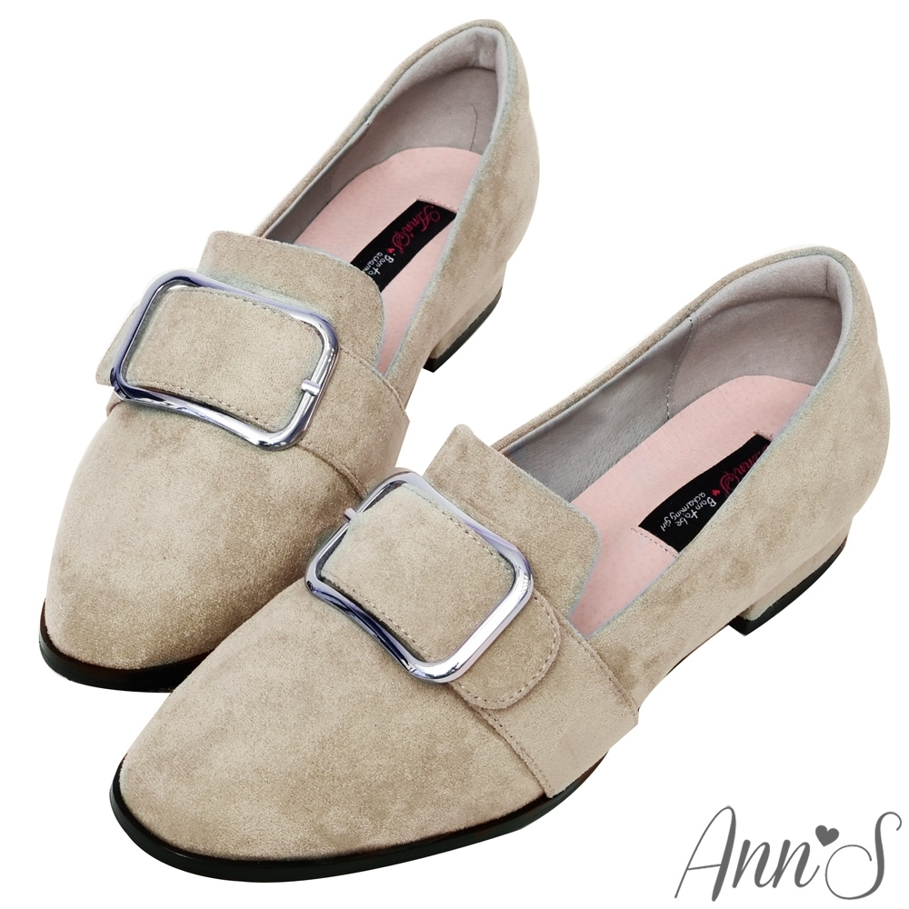 Ann'S韓式文青-防水絨布版本金屬圓弧方扣紳士平底鞋-杏