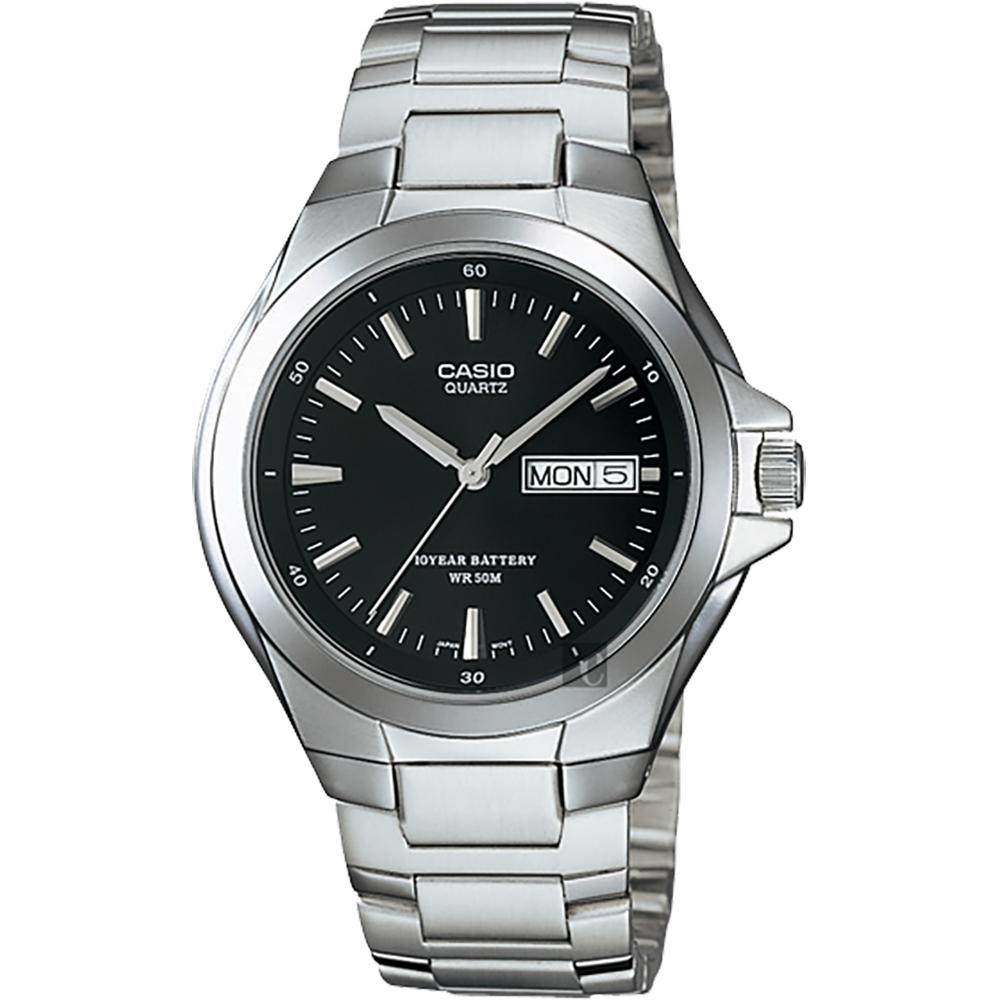 CASIO 卡西歐 10年電力指針手錶-黑x銀(MTP-1228D-1AVDF)