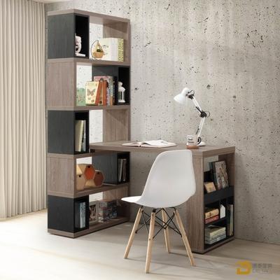 D&T 德泰傢俱  Buck胡桃色4尺H型活動書櫥桌組 寬120~140×深80×高192cm