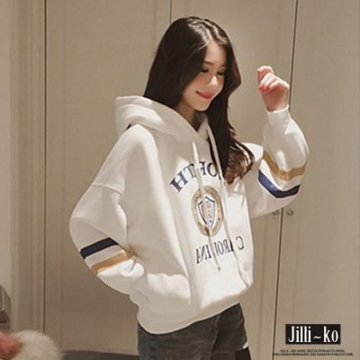 JILLI-KO 韓版加厚印花口袋連帽T- 粉/白