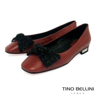 Tino Bellini冬日毛料蝴蝶結全真皮小方頭娃娃鞋_磚紅