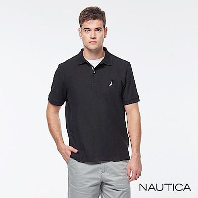 Nautica 簡約素色吸濕快乾短袖POLO衫-黑色