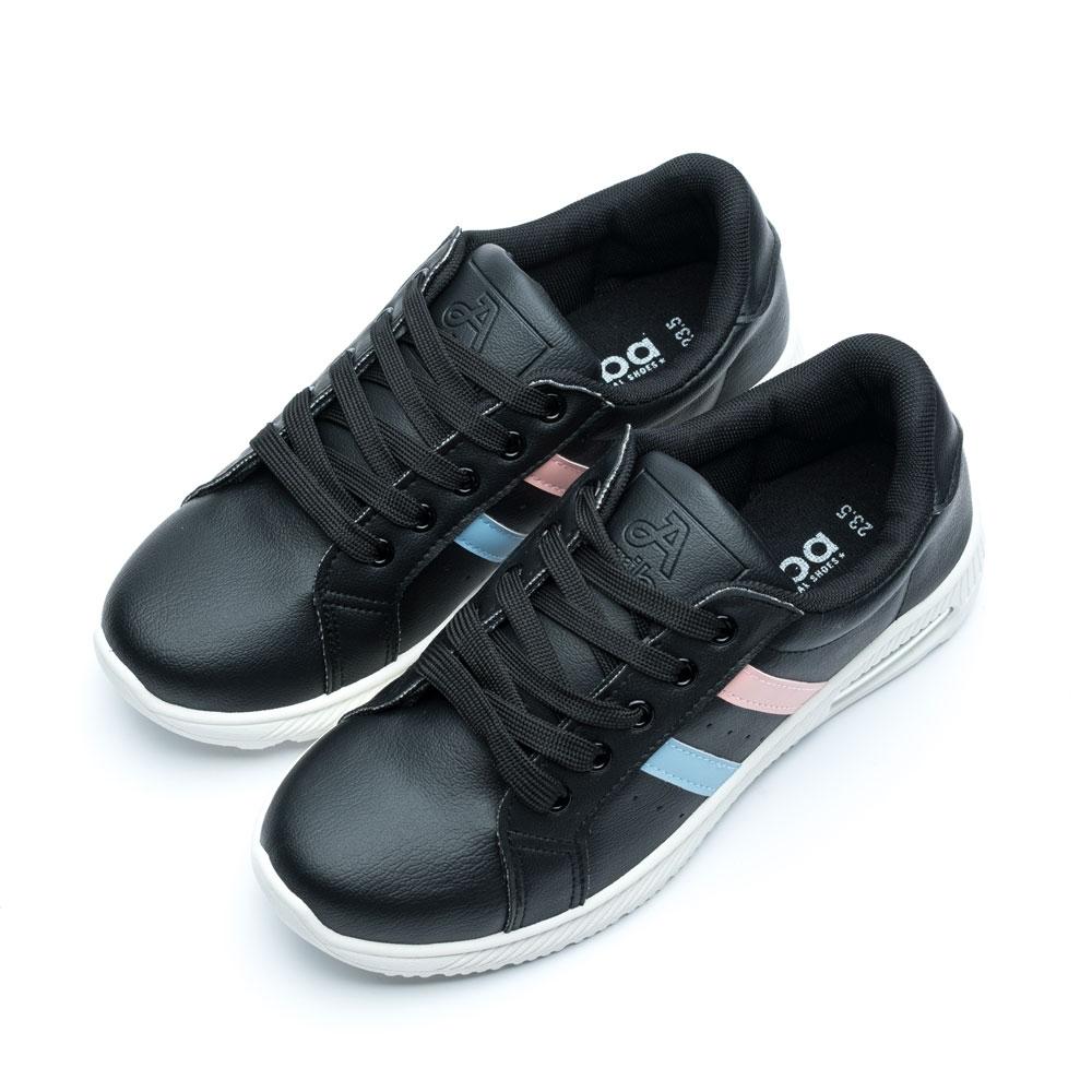 ARRIBA艾樂跑女鞋-皮質休閒鞋-黑/白(AB8089)