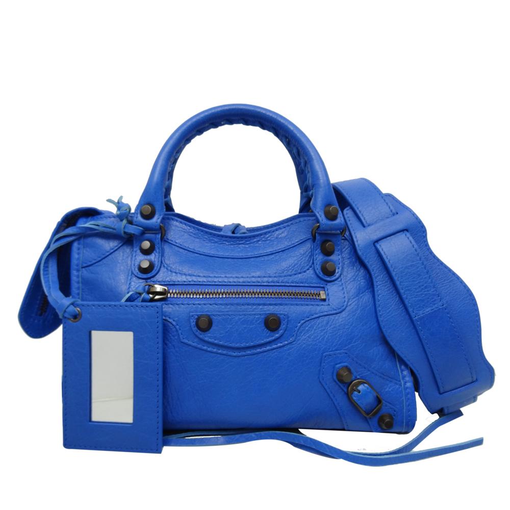 BALENCIAGA MINI CITY黑釦小羊皮手提/斜背兩用包(藍色) @ Y!購物