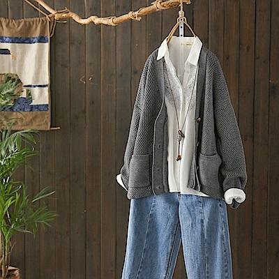 波浪紋慵懶風毛衣外套針織衫/設計所在/Y4835