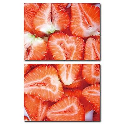 美學365-兩聯式橫幅掛畫無框畫-草莓-40x30cm