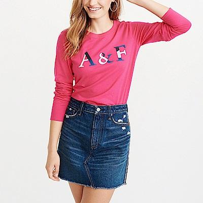 麋鹿 AF A&F 經典刺繡文字設計長袖T恤(女)-桃紅色