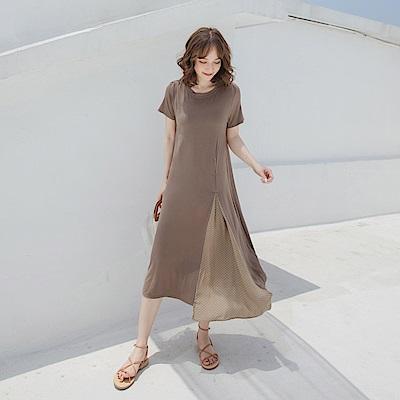 親膚涼爽層次圓點異材質拼接修身短袖長洋裝-OB嚴選