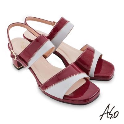 A.S.O 時尚流行 摩登時尚撞色金屬粗跟涼鞋-紅