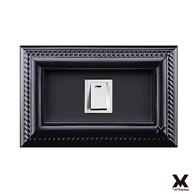 VaMarssa四方匯財冷漿陶瓷單孔插座開關蓋卡準式-黑