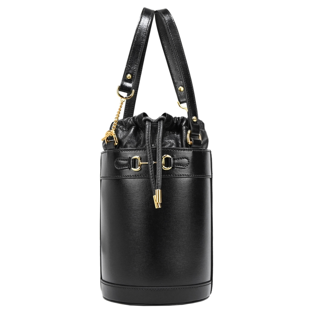 GUCCI 1955 Horsebit 皮革復古皮革馬銜扣手提肩背水桶包(黑)