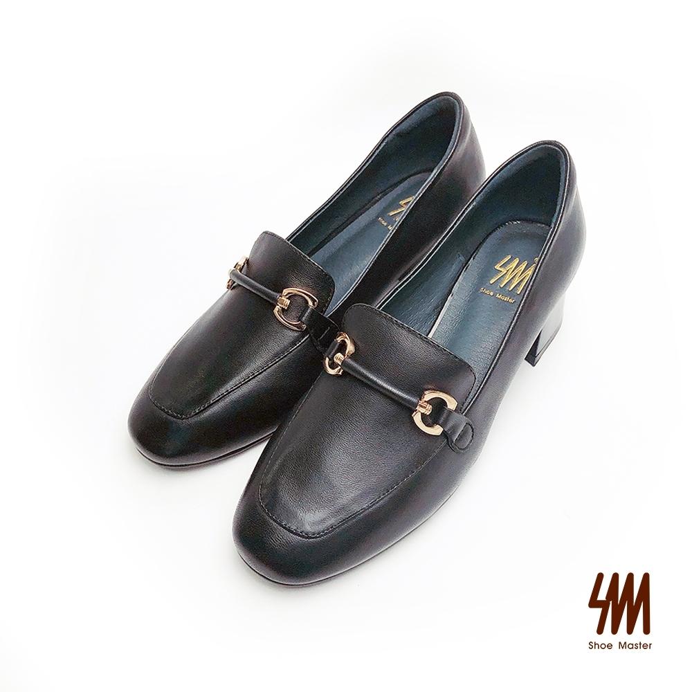 SM-帥氣復古系列-英倫風格方頭雙C馬蹄扣中跟樂福鞋-黑色(兩色)
