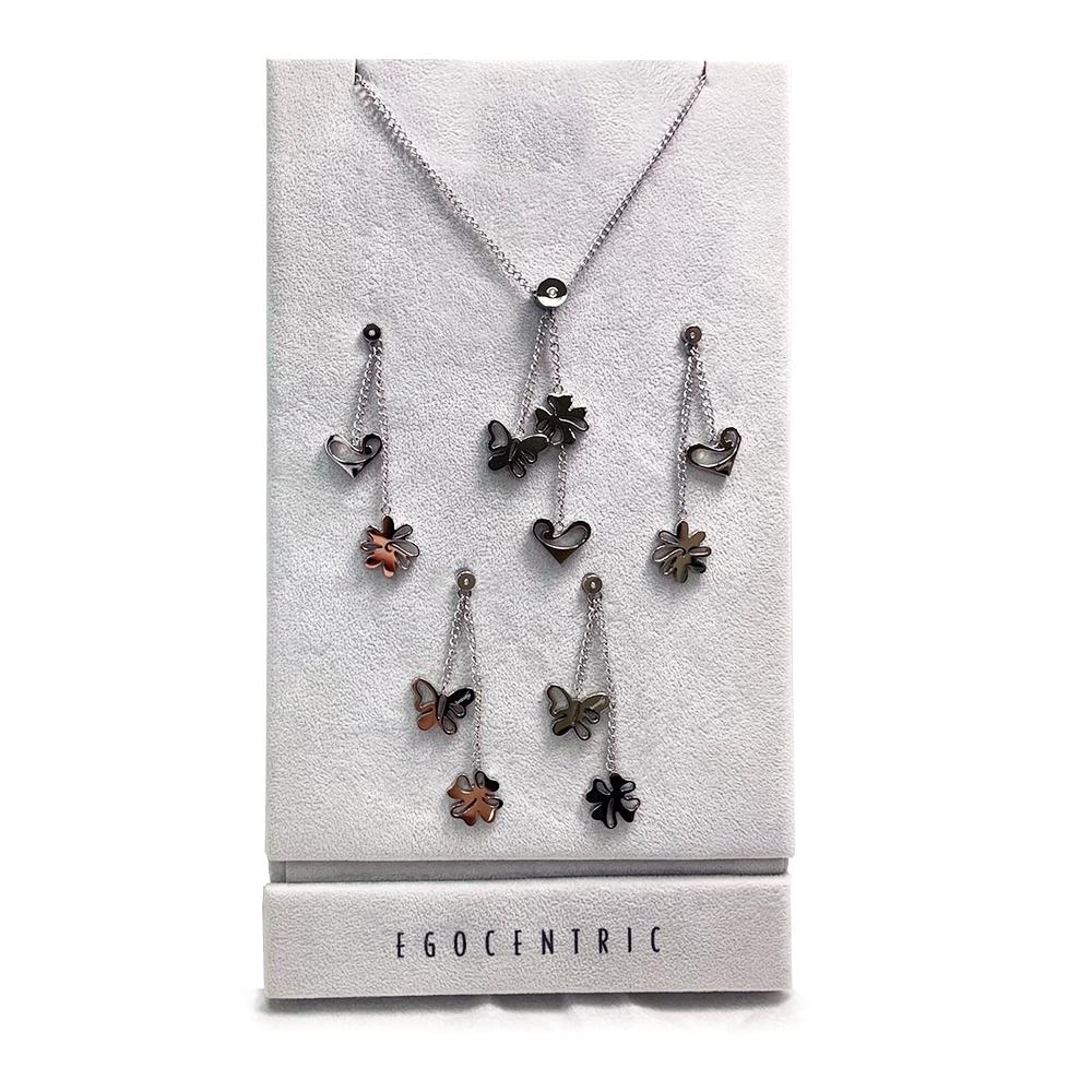 Brosway 施華洛世奇水鑽不鏽鋼項鍊+2組耳環 蝴蝶愛心 套組