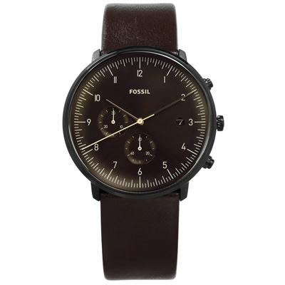 FOSSIL 都會魅力計時日期日本機芯真皮手錶-深褐色/42mm