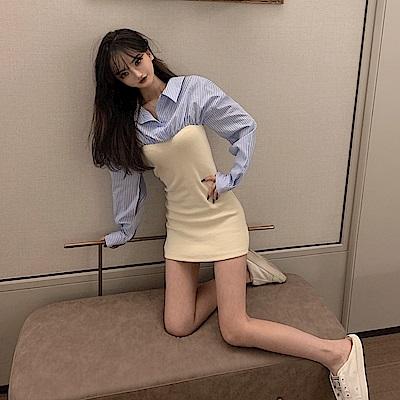 DABI 韓國風氣質條紋襯衫拼接高腰修身包臀長袖洋裝