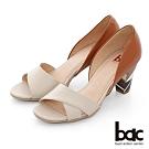【bac】紐約不夜城 - 寬版不對襯一字帶中空撞色高跟鞋-棕色