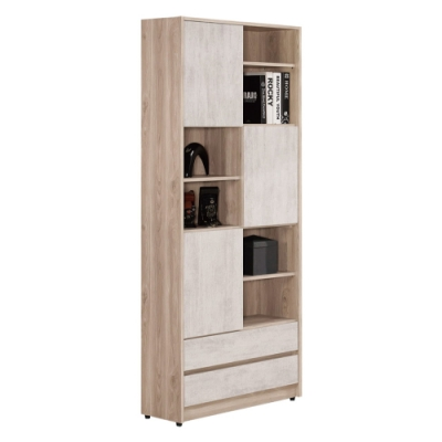 文創集 莫斯比   現代2.7尺三門二抽高書櫃/收納櫃-80x30.5x196cm免組