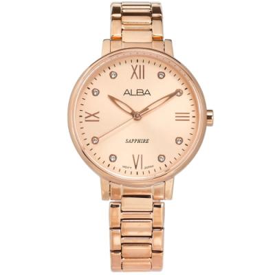 ALBA 動人耀眼 施華洛世奇水晶 藍寶石水晶玻璃 不鏽鋼手錶-鍍玫瑰金/36mm