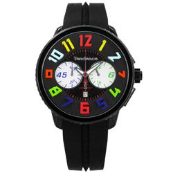 Tendence 天勢表 繽紛色彩立體時標計時日期防水矽膠手錶-黑色/51mm