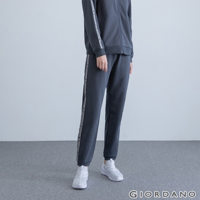 GIORDANO 女裝G-MOTION四面彈力織帶運動束口褲 - 08 標誌灰色