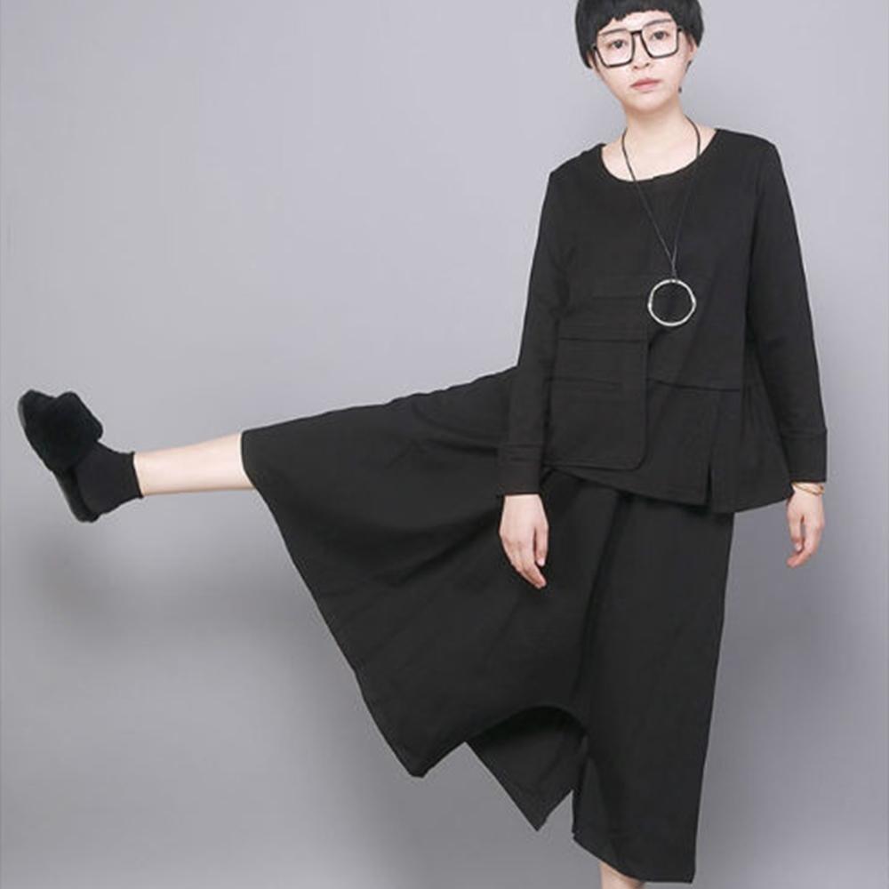 設計所在Style-不規則中長裙大碼寬鬆顯瘦倆穿黑色裙褲
