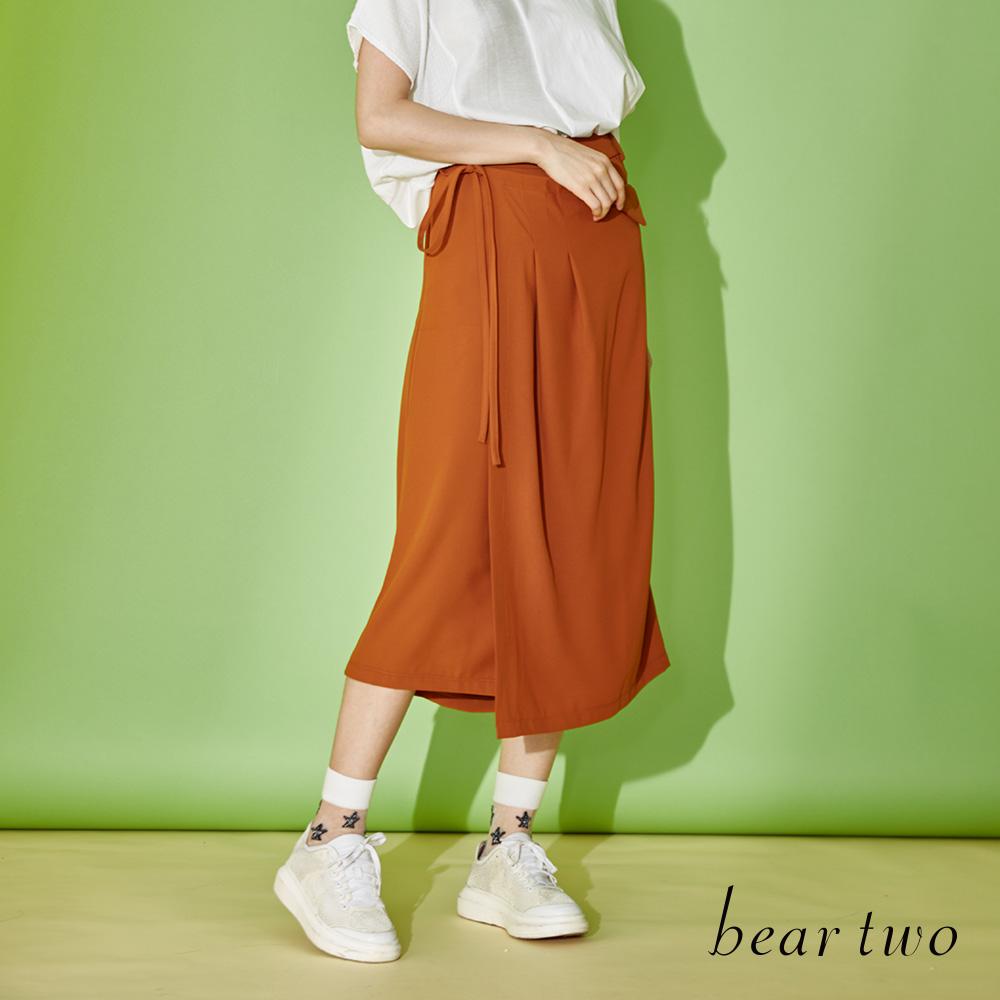 beartwo 簡約質感素面側綁帶褲裙(二色)