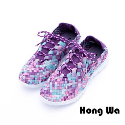 Hong Wa - 運動休閒透氣綁帶馬賽克編織布鞋 - 紫