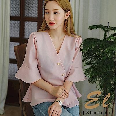 正韓 時尚斜釦光澤荷葉襯衫-(共三色)El Shuddai