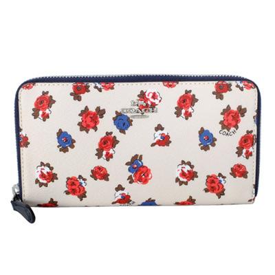 COACH白底紅藍玫瑰花紋真皮裡拉鍊長夾