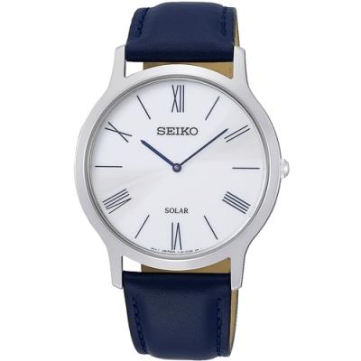 SEIKO精工   簡約爾雅超薄太陽能石英腕錶(SUP857P1)-白x38mm