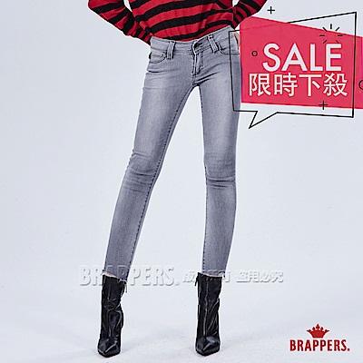 BRAPPERS 女款 新美腳ROYAL系列-褲口不規則剪裁低腰七分褲-灰