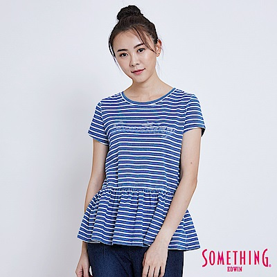 SOMETHING INDIGO靛藍條紋收腰 短袖T恤-女-漂淺藍