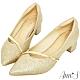 Ann'S高挑公主的婚鞋-閃亮軟金屬斜帶顯瘦低跟尖頭鞋-金 product thumbnail 1